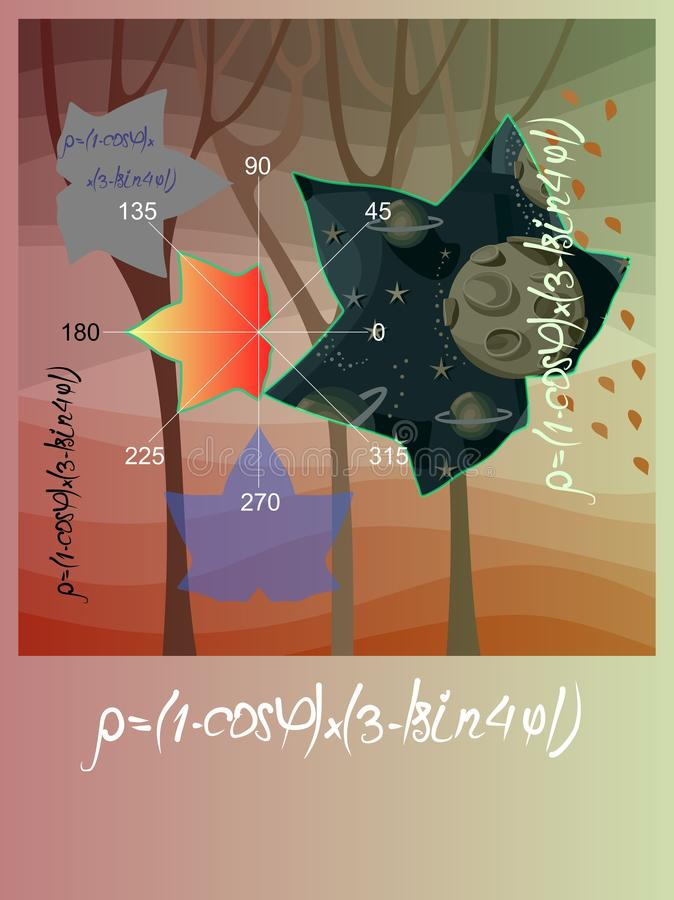 Artistic vector card with formulas, plots and geometric figures in shape of maple leaves on romantic autumn landscape background.  stock illustration