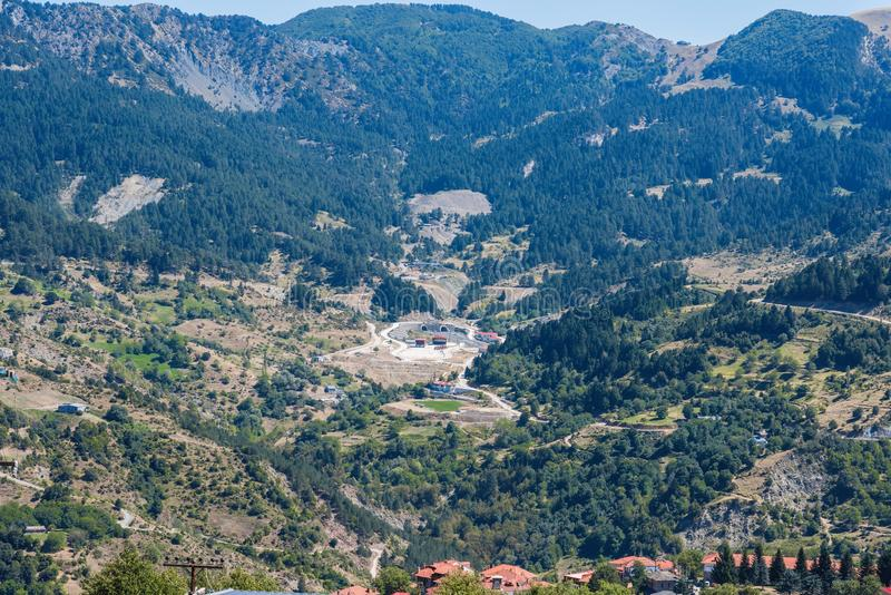 Panoramic view on the mountain village royalty free stock photography
