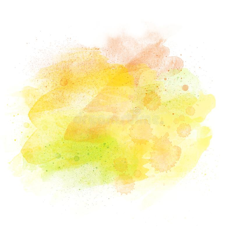 Artistic watercolor aquarelle background isolated on white with copy space. Watercolor aquarelle background isolated on white with copy space, yellow orange royalty free illustration