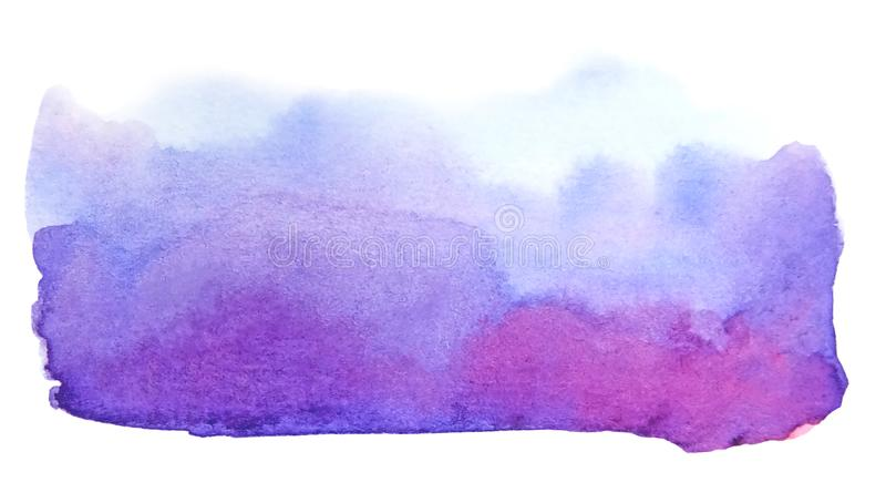 Artistic watercolor creative blue violet brush stroke royalty free illustration
