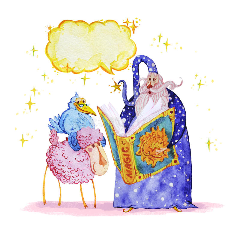 Artistic watercolor hand drawn magic illustration with stars, tall wizard, blue crow, pink sheep, speech bubble and spell book vector illustration