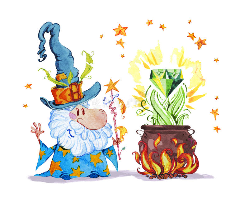 Artistic watercolor hand drawn magic illustration with stars, wizard in big hat. Pot on fire magic diamond isolated on white background. Fairy tale magician vector illustration