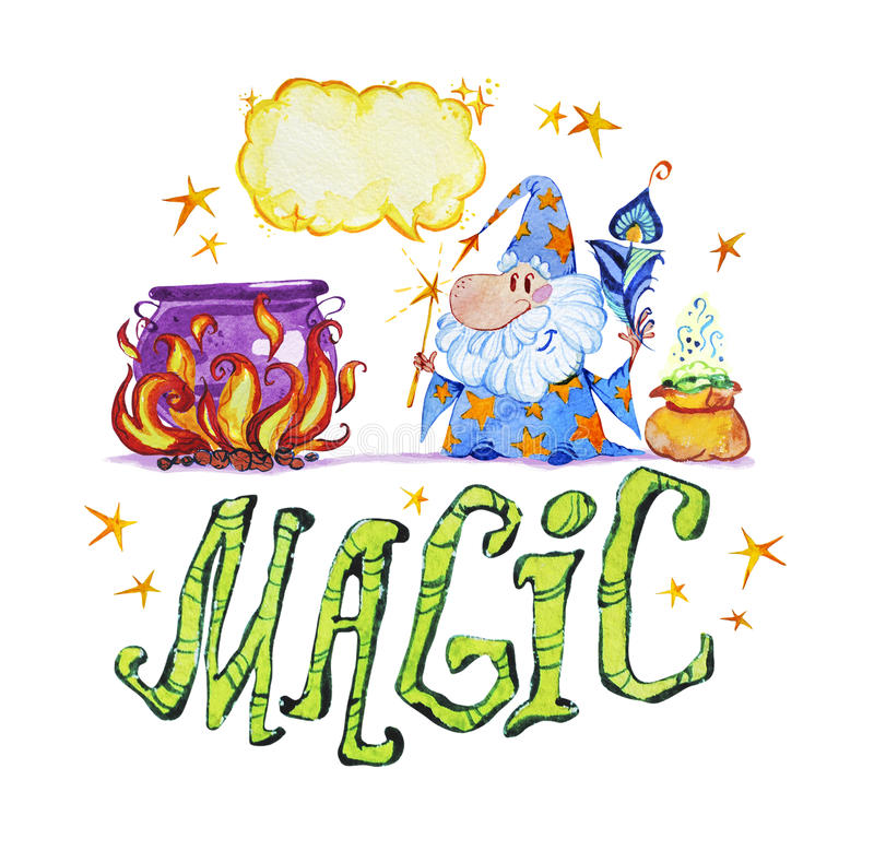 Artistic watercolor hand drawn magic illustration with stars, wizard, pot on fire, feather and magic powder in small bag. On white background. Fairy tale royalty free illustration