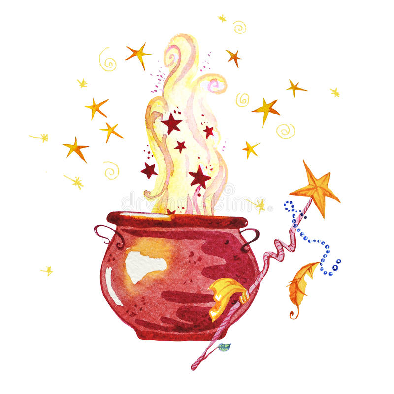 Artistic watercolor hand drawn magic pot illustration with stars, smoke, fire and wand. Isolated on white background. Fairy tale magician. Children illustration royalty free illustration
