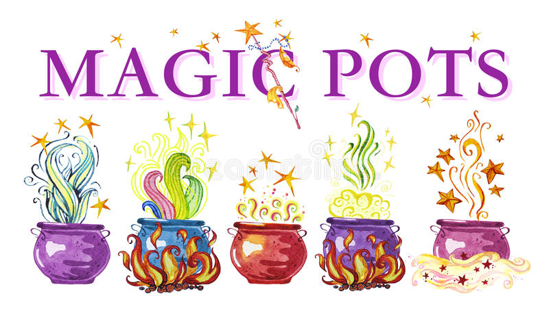 Artistic watercolor hand drawn magic pots illustration. With stars, smoke, fire and wizard wan isolated on white background. Fairy tale magician. Children royalty free illustration