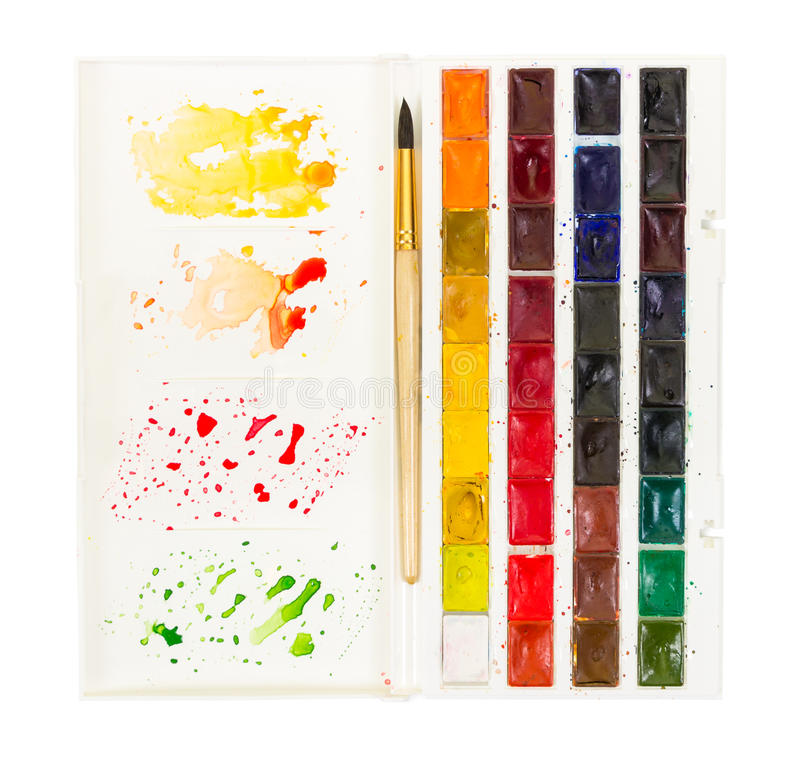 Artistic watercolor paint and brush in plastic box with palette stock photos