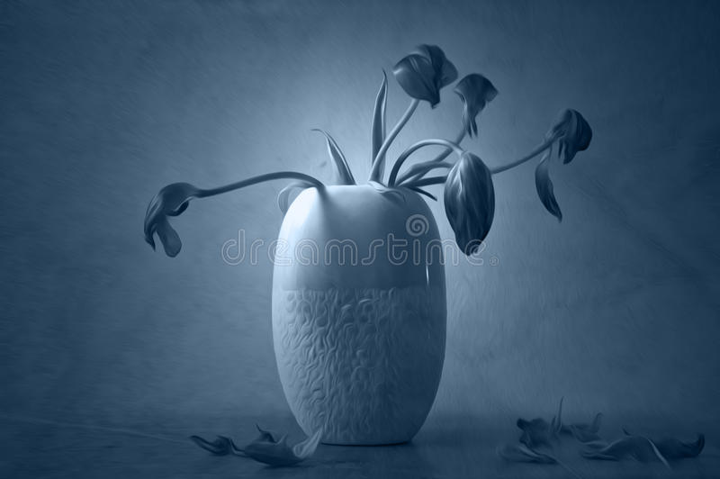 Artistic wilted flowers in vase stock photos