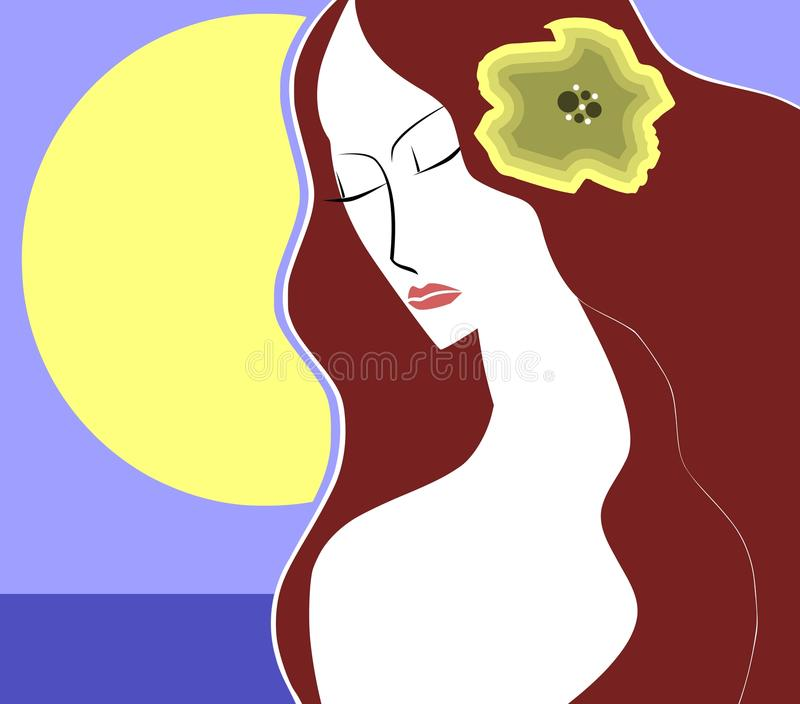 Artistic woman face with flower stock photography