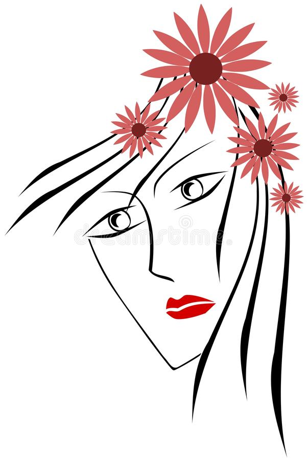 Artistic woman face with flowers royalty free stock photos