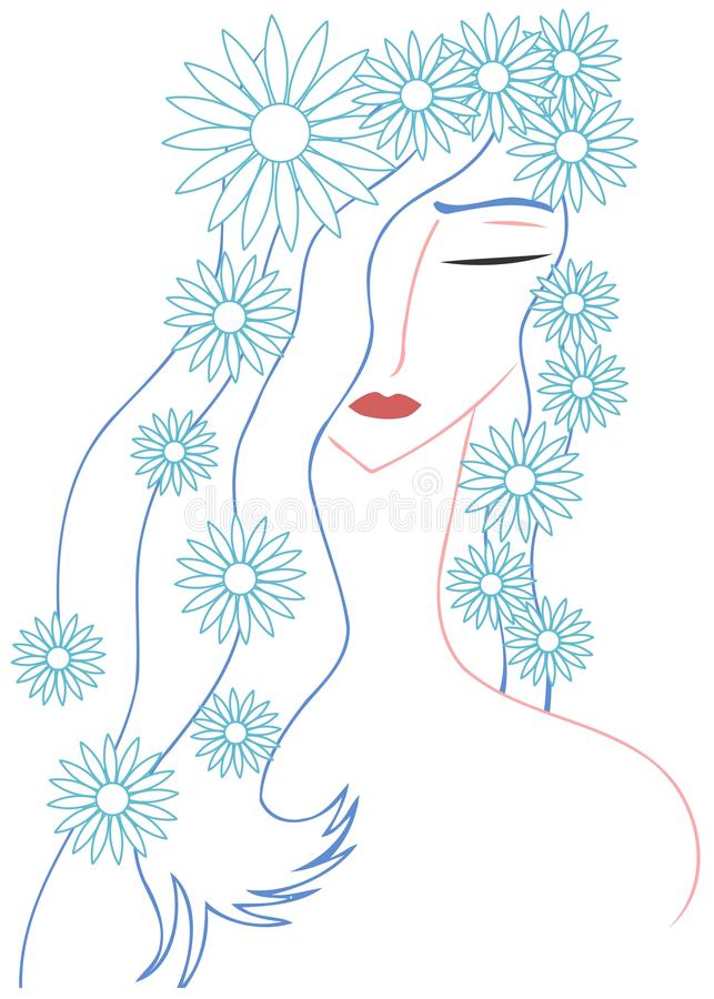 Artistic woman face with flowers royalty free stock images