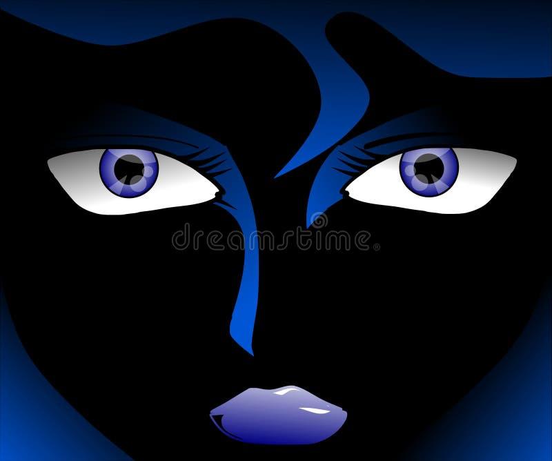 Artistic woman portrait in blue tones stock image