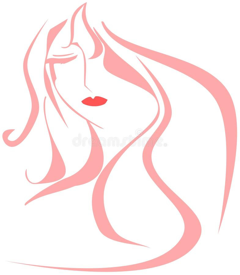 Artistic woman face in pink isolated royalty free stock images