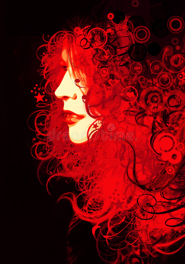 Artistic woman portrait stock illustration