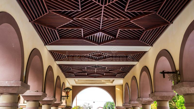 Artistic wooden ceiling, Islamic centre Samarinda royalty free stock photography
