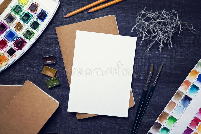 Artistic workplace mock up stock image