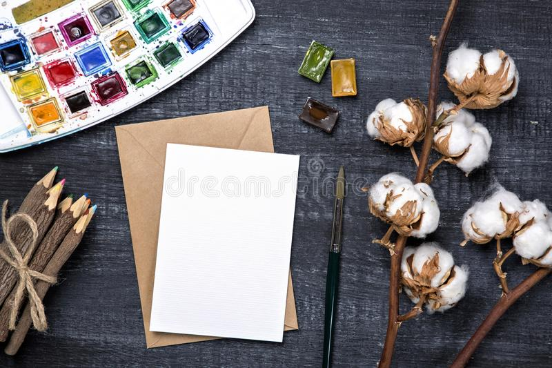 Artistic workplace mock up stock photos