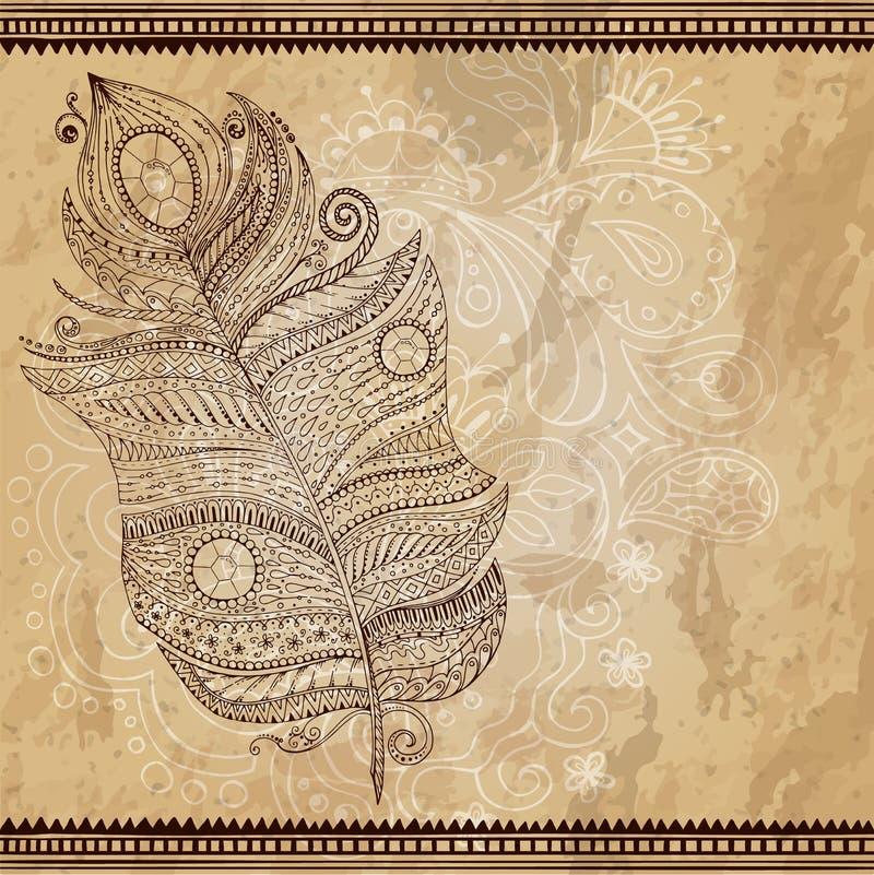 Artistically dragit, stiliserat, stam- vektor stock illustrationer