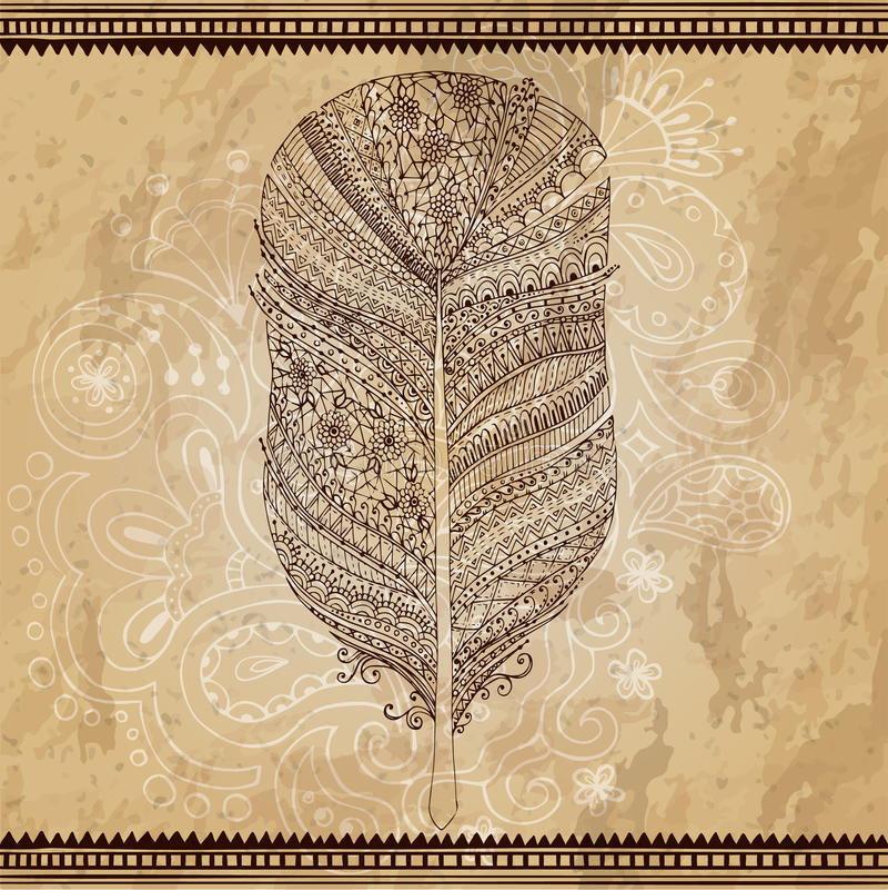 Artistically dragit, stiliserat, stam- vektor royaltyfri illustrationer