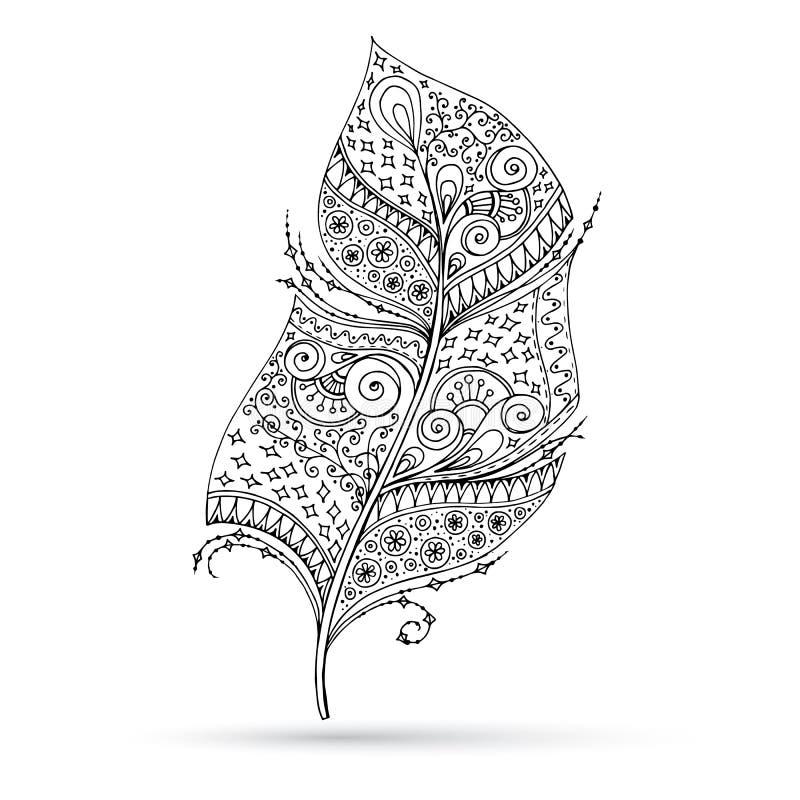 Artistically dragit, stiliserat, vektorfjäder på a royaltyfri illustrationer