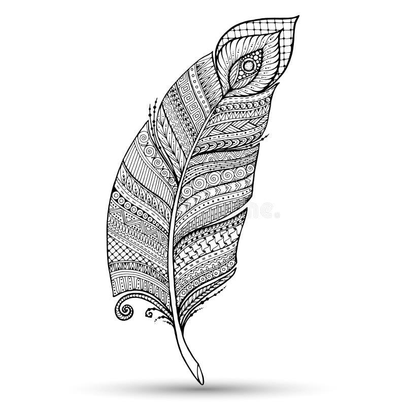 Artistically dragit, stiliserat, vektorfjäder på en vit bakgrund Stam- fjäder för tappning vektor illustrationer