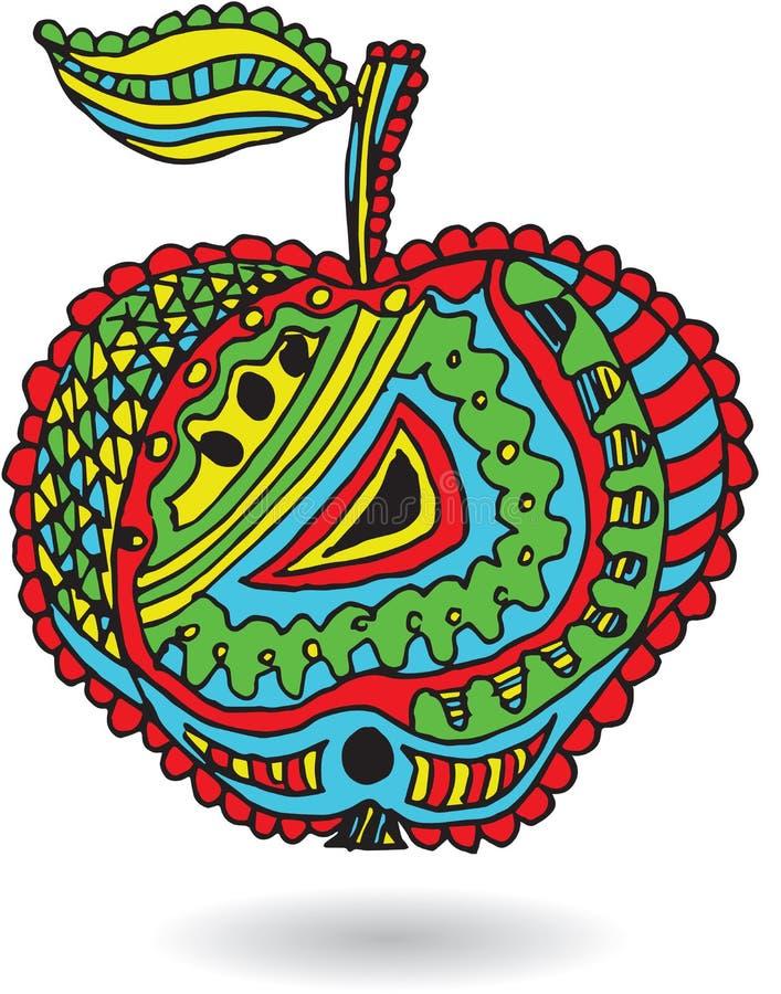 Artistically dragit, zentangle stiliserad äpplevektorillustration royaltyfri illustrationer