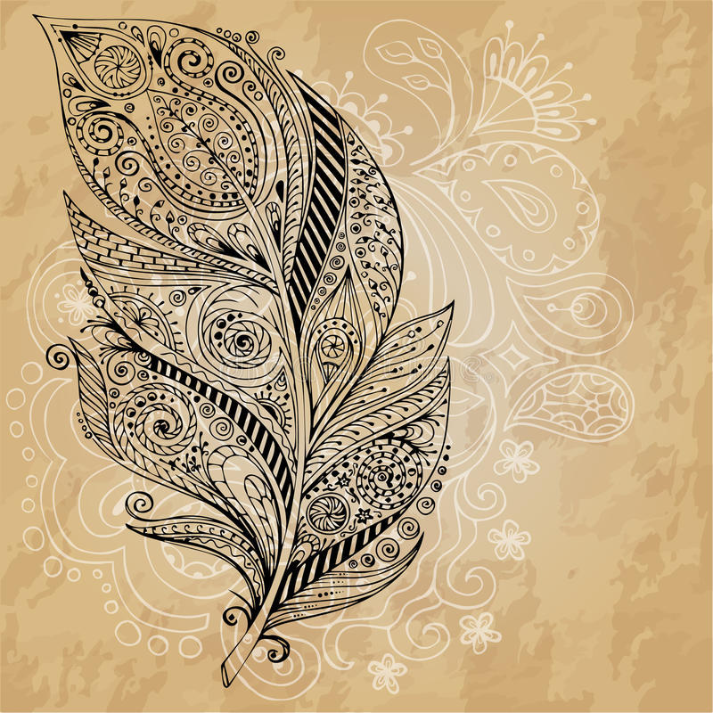 Artistically drawn, stylized, tribal graphic feathers with hand drawn swirl doodle pattern. Grunge background. Illustration stock illustration