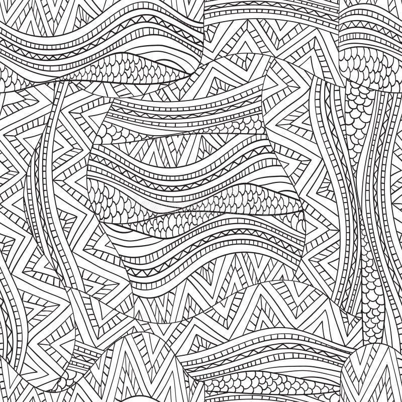 Artistically etnisk vågmodell i klotterstil stock illustrationer