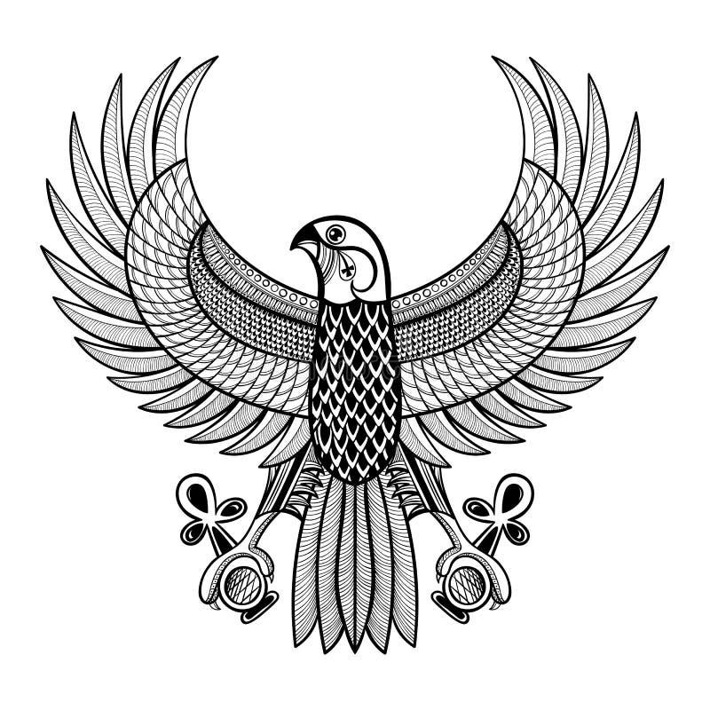 Artisticamente falco disegnato a mano dell'Egitto Horus, Ra-uccello modellato illustrazione vettoriale