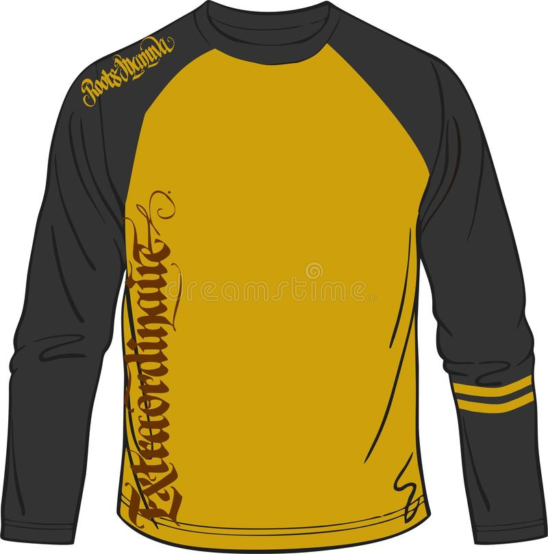 Artistico della maglietta lunga per musica di sport e casuale sportivi immagine stock