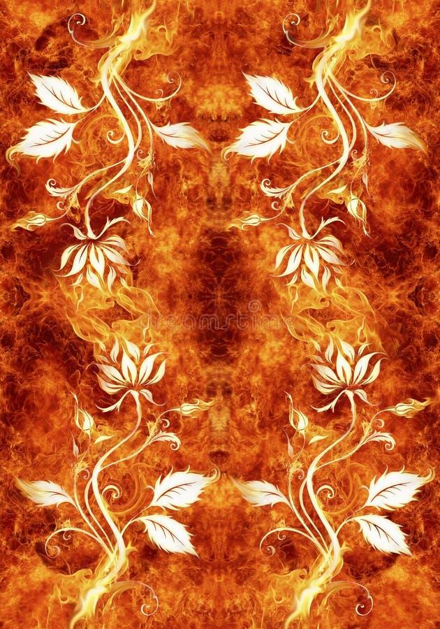 Artistiek abstract bloemrijk kunstwerk op een unieke gloeiende vurige achtergrond royalty-vrije illustratie