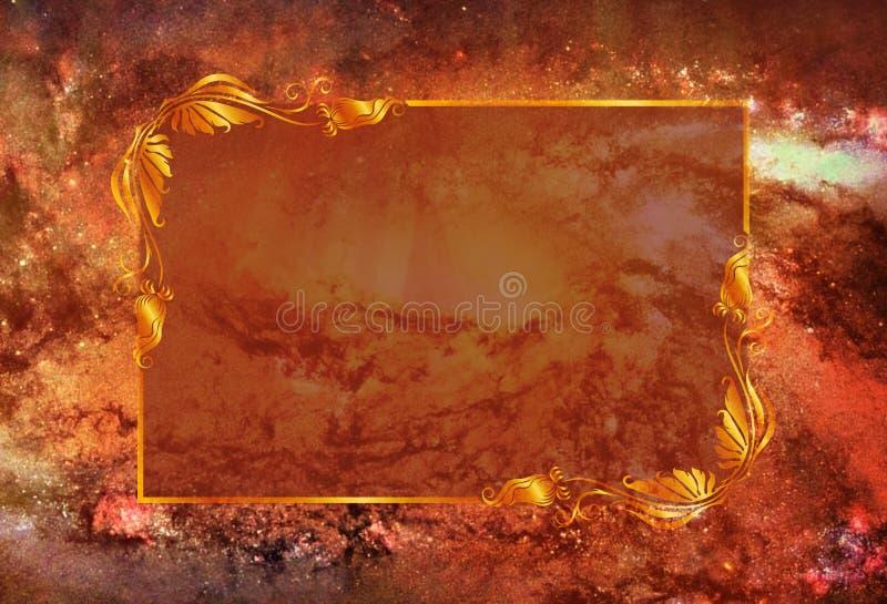Artistiek Abstract de Melkwegeffect van de vurennevel met een Gebied om een Tekst op het te schrijven stock illustratie