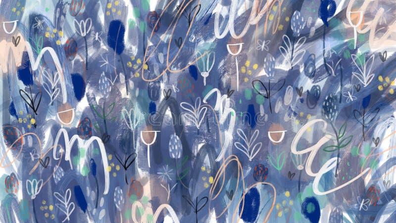 Artistiek abstract hand getrokken volledig scherm bacground stock afbeelding