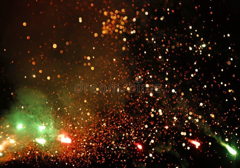 Artistiek abstract uniek multicolored vlot helder vuurwerk stock fotografie