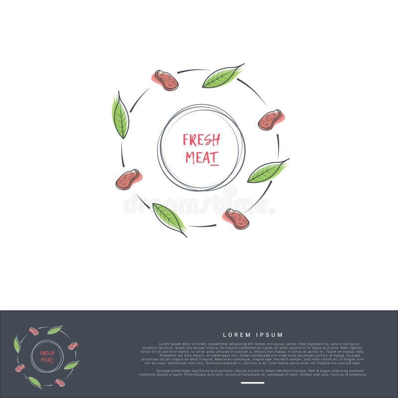 Artistiek dun de cirkelpatroon van het lijnembleem van vleeslapje vlees vector illustratie