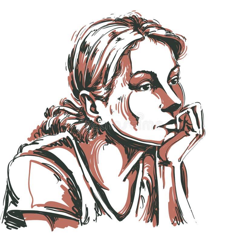 Artistiek hand-drawn vectorbeeld, portret van gevoelige melanchol royalty-vrije illustratie