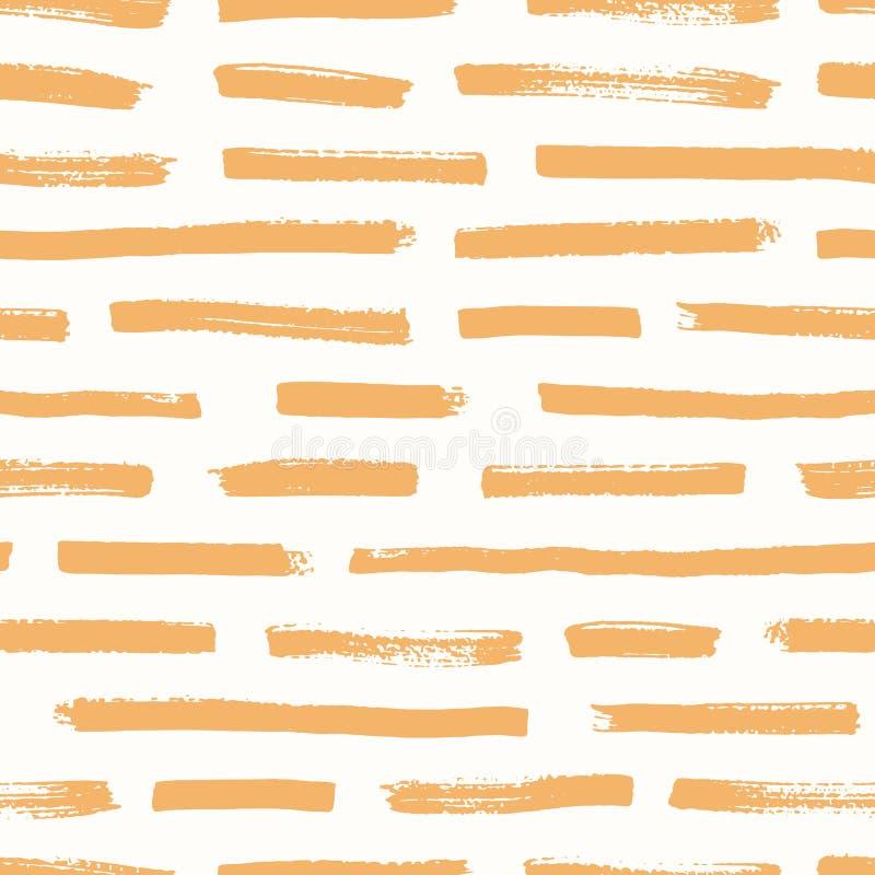 Artistiek naadloos patroon met oranje kwaststreken op witte achtergrond Decoratieve achtergrond met ruwe horizontale verf stock illustratie
