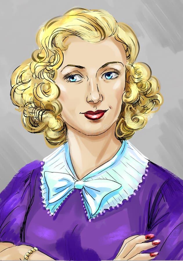 Artistiek portret van een mooie blonde vrouw in de stijl van jaren '50 royalty-vrije illustratie