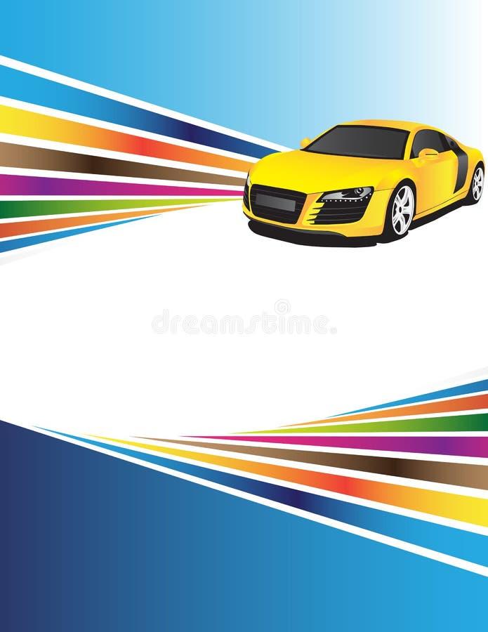 Artistieke achtergrond en gele auto royalty-vrije illustratie