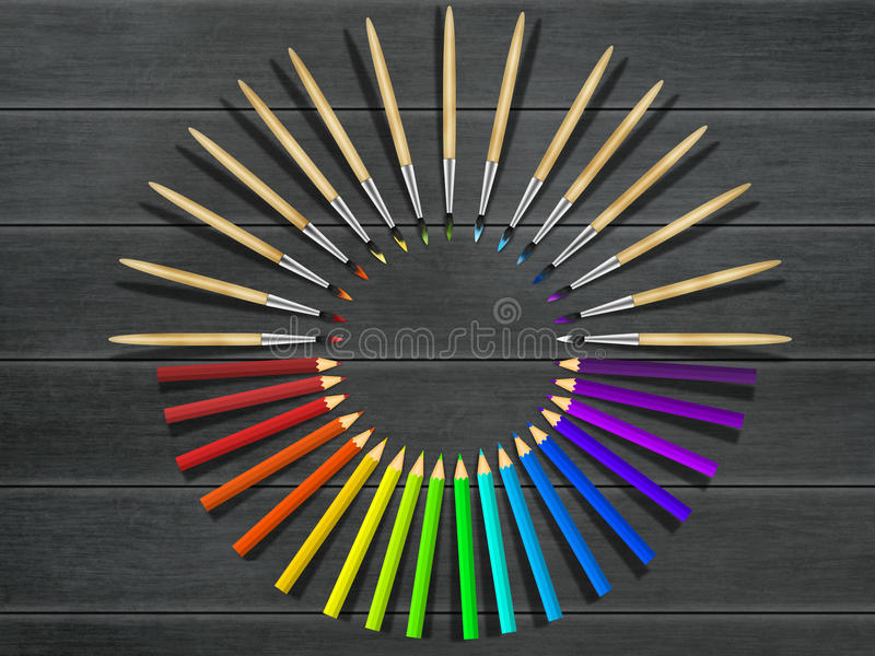 Artistieke borstels en kleurpotloden op houten lijst Hulpmiddelenassortiment royalty-vrije stock afbeelding