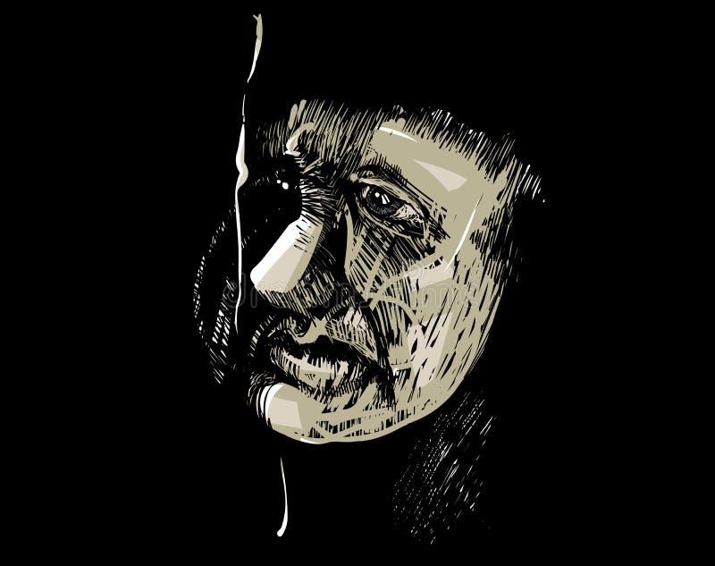 Artistieke de tekeningsillustratie van het mensengezicht vector illustratie
