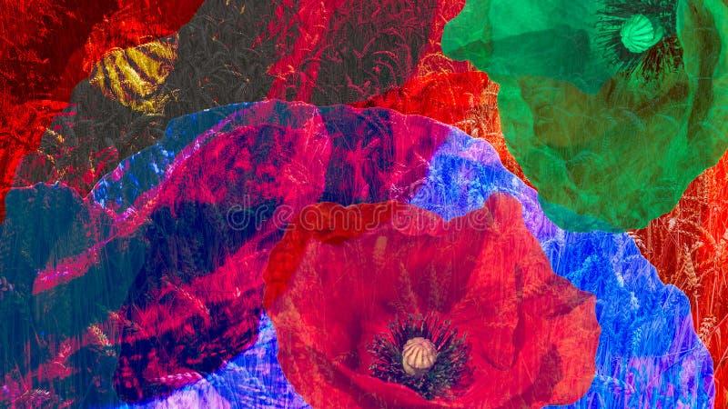 Artistieke digitale collage van kleurrijk bloeiclose-up stock afbeeldingen