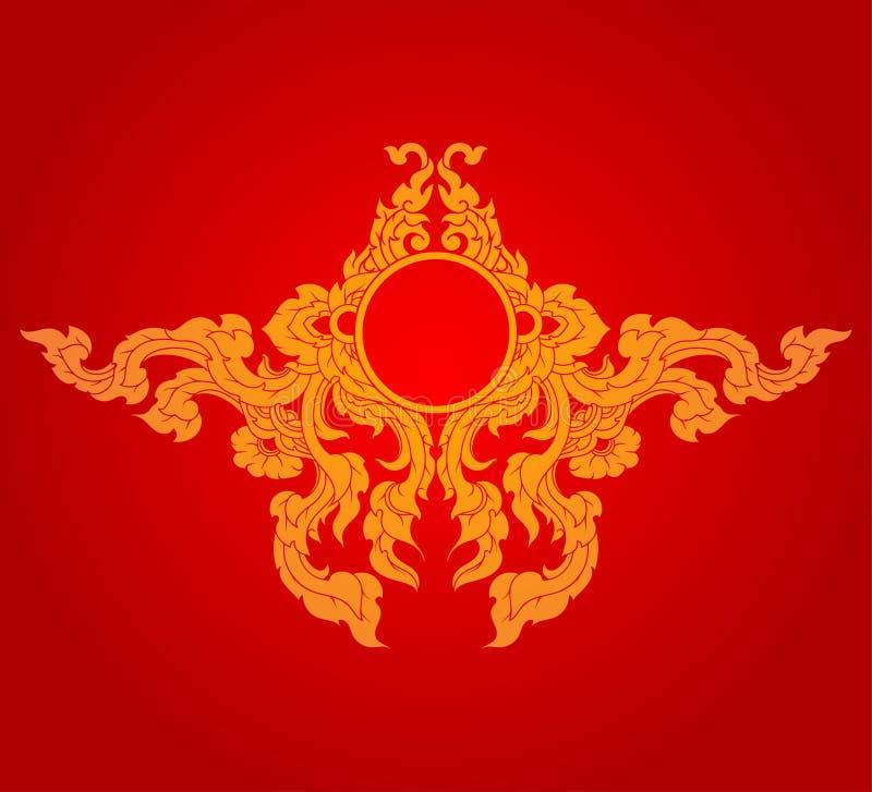 Artistieke gouden kleuren op een rode vector stock illustratie