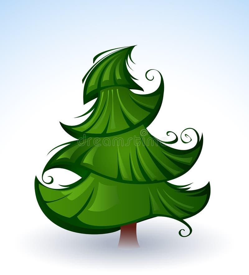 Artistieke groene Kerstboom royalty-vrije illustratie