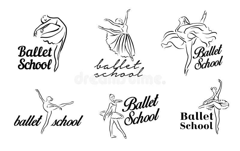 Artistieke hand getrokken beeldenreeks van theaterthema Ballerina's het dansen De ballerinadanser met tutu, stelt vrouw in ballet royalty-vrije illustratie