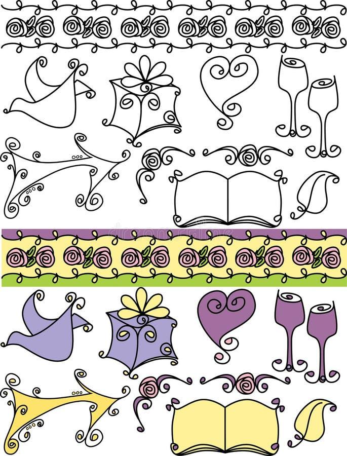 Artistieke huwelijkspictogrammen royalty-vrije illustratie