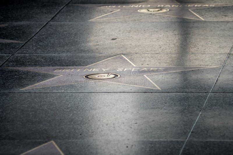 Artistieke mening van de Britney Spears-ster op de Hollywood-Gang van Bekendheid royalty-vrije stock afbeeldingen