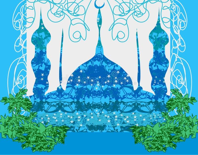 Artistieke patroonachtergrond met moskee royalty-vrije illustratie