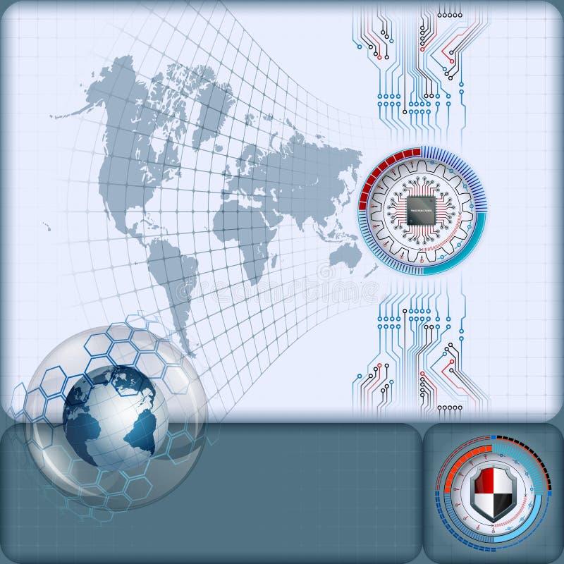 Artistieke vervormde wereldkaart en net met bewerker in futuristisch gediplomeerd apparaat op elektronische kringen stock illustratie