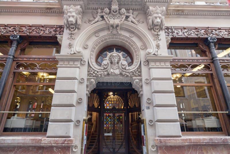 Artistieke voorgevel die koninklijk Casino van Murcia, Spanje bouwen royalty-vrije stock foto