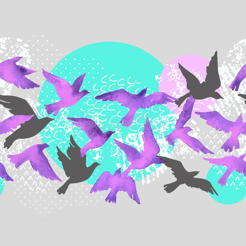 Artistieke waterverfachtergrond: vliegende vogelsilhouetten, vloeibare die vormen met minimaal worden gevuld, grunge, krabbeltext stock illustratie